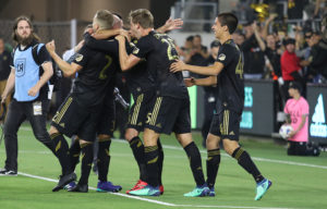 LAFC players celebrate after win